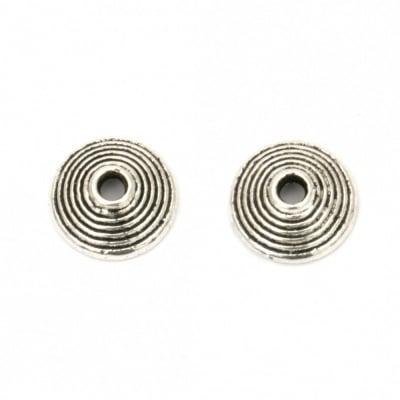 Мънисто метал шапка 10x3 мм дупка 2 мм цвят старо сребро -20 броя