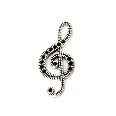 Висулка метална ключ сол 32x15x2 мм дупка 2x6 мм цвят старо сребро -5 броя