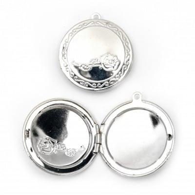 Висулка метална кръг отварящ 31 мм основа за вграждане 24 мм дупка 1.5 мм цвят сребро