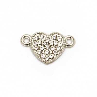 Свързващ елемент метал с кристали сърце 19x12x2 мм дупка 1.5 мм цвят сребро -2 броя