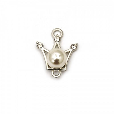 Свързващ елемент метал с кристали и перла корона 21x16x9 мм дупка 1.5 мм цвят сребро -2 броя
