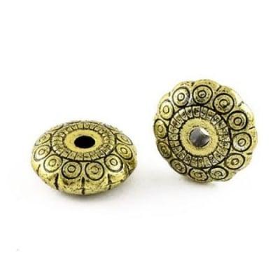 Мънисто метализе шайба 19х7.5 мм дупка 3.5 мм цвят злато старо -50 грама ~29 броя