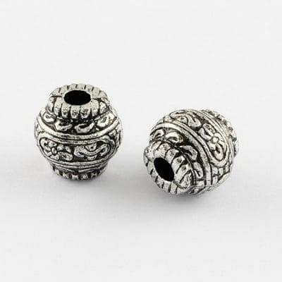 Мънисто метализе буре 12х12 мм дупка 4 мм сребро -50 грама ~50 броя