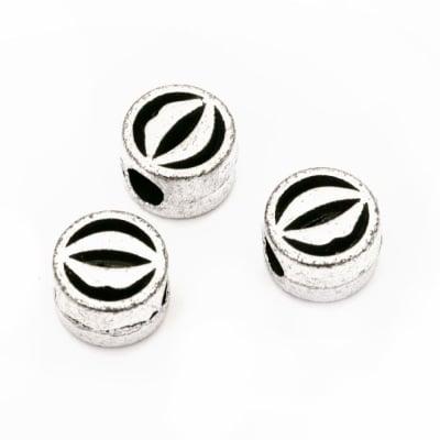 Мънисто метализе устни 10.5x7 мм дупка 5 мм цвят сребро -50 грама
