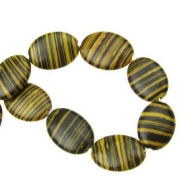 Наниз мъниста полускъпоценен камък МАЛАХИТ СИНТЕТИЧЕН жълто- черен овал 18x13x4 мм ~22 броя