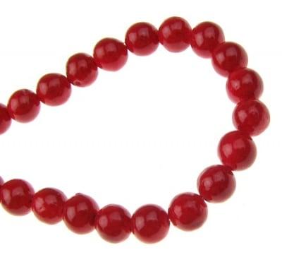 Наниз мъниста полускъпоценен камък КОРАЛ червен оцветен топче 5 мм ~93 броя