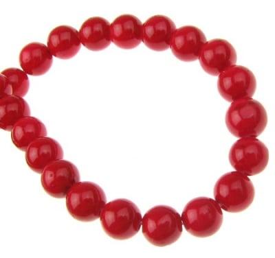 Наниз мъниста полускъпоценен камък КОРАЛ червен оцветен топче 6 мм ~65 броя