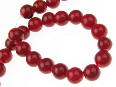 Наниз мъниста полускъпоценен камък КОРАЛ червен оцветен топче 8 мм ~48 броя