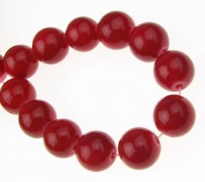 Наниз мъниста полускъпоценен камък КОРАЛ червен оцветен топче 10 мм ~38 броя