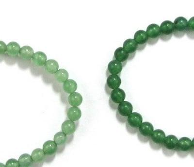 Наниз мъниста полускъпоценен камък АВАНТЮРИН зелен топче 4 мм ~100 броя ~40 см