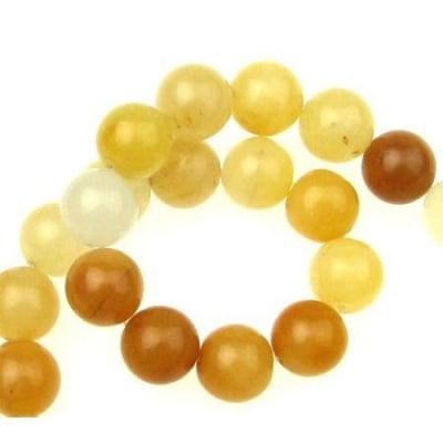 Наниз мъниста полускъпоценен камък АХАТ жълто оранжев топче 12 мм ~33 броя
