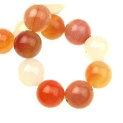 Наниз мъниста полускъпоценен камък АХАТ оранжев млечен топче 16 мм ±25 броя