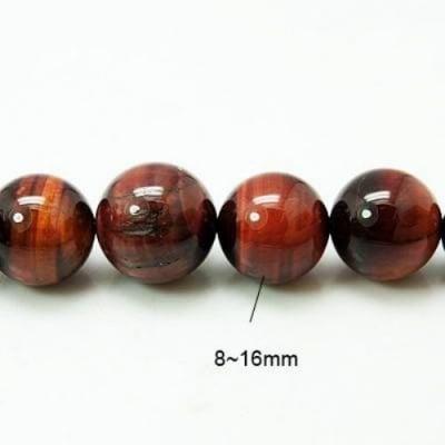 Наниз мъниста полускъпоценен камък ТИГРОВО ОКО червено топче 8~16 мм. ~43 броя -40 см