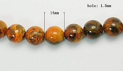 Наниз мъниста полускъпоценен камък ХРИЗОКОЛА оранжев топче 14 мм ~28 броя