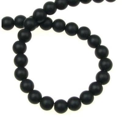 Наниз мъниста полускъпоценен камък ОНИКС черен топче матирано 6 мм ~67 броя