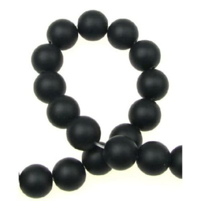Наниз мъниста полускъпоценен камък ОНИКС черен топче матирано 12 мм ~33 броя