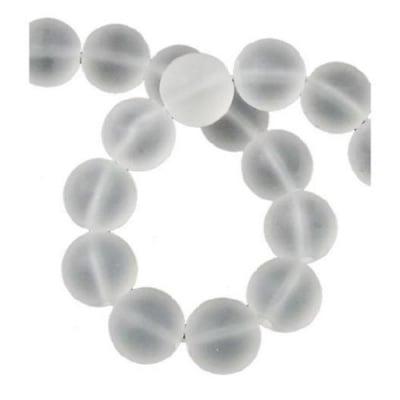 Наниз мъниста полускъпоценен камък ПЛАНИНСКИ КРИСТАЛ топче матирано 12 мм ~~ 32 броя