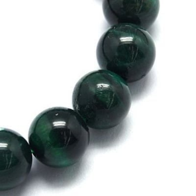 Наниз мъниста полускъпоценен камък ТИГРОВО ОКО зелено клас ААА топче 8 мм ~48 броя