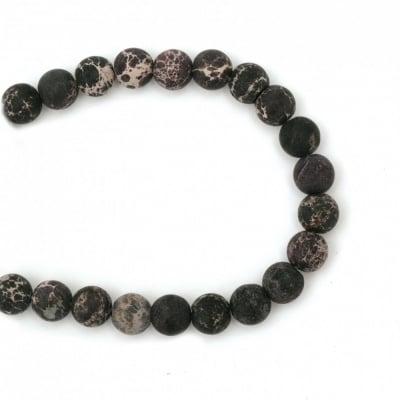 Наниз мъниста полускъпоценен камък РЕГАЛИТ лилав топче матирано 8 мм ~48 броя