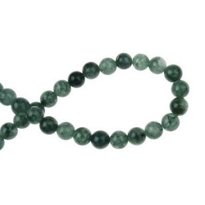 Наниз мъниста полускъпоценен камък АХАТ зелен топче 8 мм ~48 броя