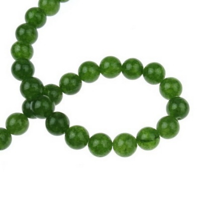 Наниз мъниста полускъпоценен камък АХАТ зелен топче 10 мм ~37 броя