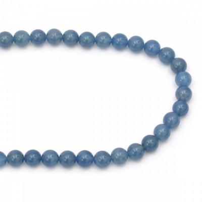Наниз мъниста полускъпоценен камък АХАТ син топче 10 мм ±38 броя