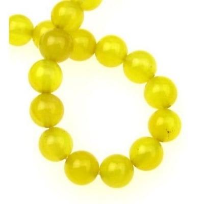 Наниз мъниста полускъпоценен камък АХАТ жълт топче 8 мм ~48 броя