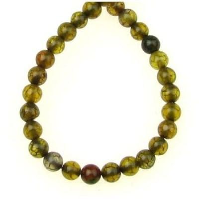 Наниз мъниста полускъпоценен камък АХАТ жълто зелен топче 4 мм ~100 броя