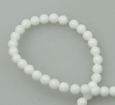 Наниз мъниста полускъпоценен камък АХАТ бял синтетичен топче 4 мм ~97 броя