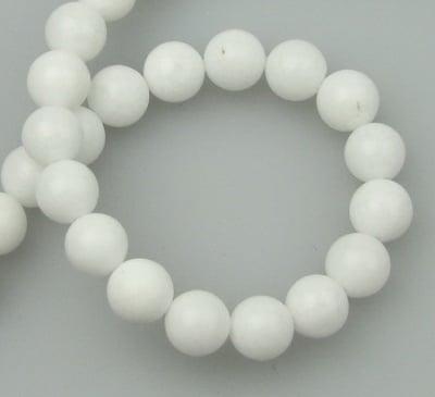 Наниз мъниста полускъпоценен камък АХАТ бял синтетичен топче 8 мм ~50 броя