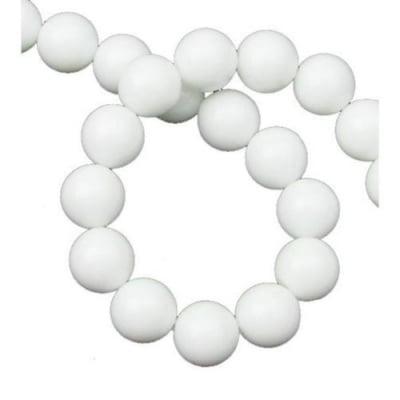 Наниз мъниста полускъпоценен камък АХАТ бял синтетичен топче 10 мм ~38 броя