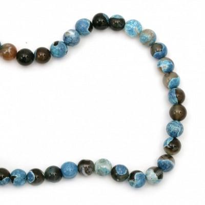 Наниз мъниста полускъпоценен камък АХАТ син микс топче 10 мм ~38 броя