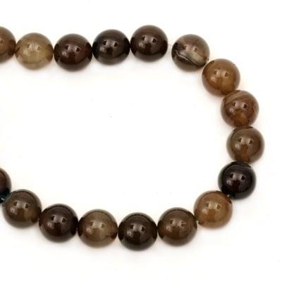 Наниз мъниста полускъпоценен камък АХАТ кафяв топче 20 мм ~20 броя