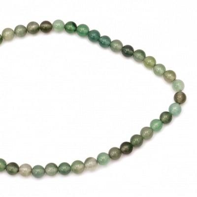 Наниз мъниста полускъпоценен камък АХАТ зелен топче 8 мм ~47 броя