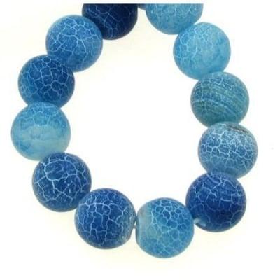 Наниз мъниста полускъпоценен камък АХАТ син топче матирано 10 мм ~38 броя
