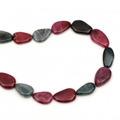 Наниз мъниста полускъпоценен камък АХАТ асорте цветове капка 15~25x20~35x3~10 мм ~14 броя