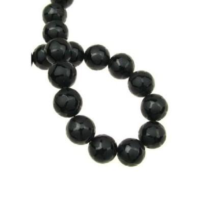 Наниз мъниста полускъпоценен камък ОНИКС черен рисуван матиран топче 12 мм ~32 броя