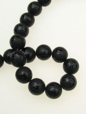 Наниз мъниста полускъпоценен камък ОНИКС черен рисуван матиран топче 14 мм ~28 броя
