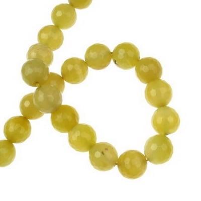 Наниз мъниста полускъпоценен камък АХАТ жълт топче фасетирано 12 мм ~32 броя