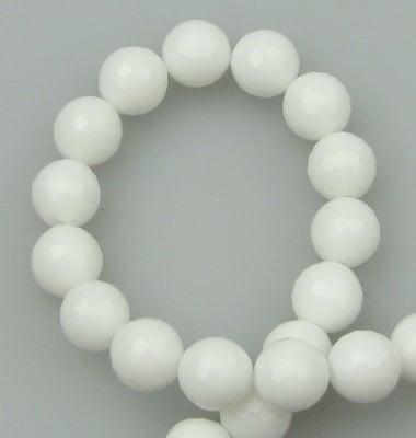 Наниз мъниста полускъпоценен камък АХАТ бял синтетичен топче фасетирано 8 мм ~50 броя