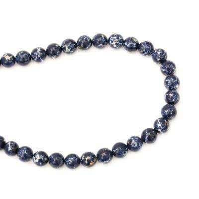 Наниз мъниста полускъпоценен камък АХАТ синтетичен син топче 10 мм ~40 броя
