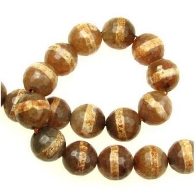 Наниз мъниста полускъпоценен камък АХАТ оранжев топче фасетитано 12 мм ~32 броя