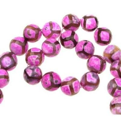Наниз мъниста полускъпоценен камък АХАТ розов топче фасетирано 12 мм ~32 броя