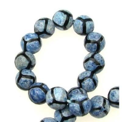 Наниз мъниста полускъпоценен камък АХАТ син топче фасетирано 10 мм ~37 броя