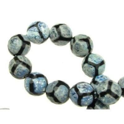 Наниз мъниста полускъпоценен камък АХАТ син топче фасетирано 12 мм ~32 броя