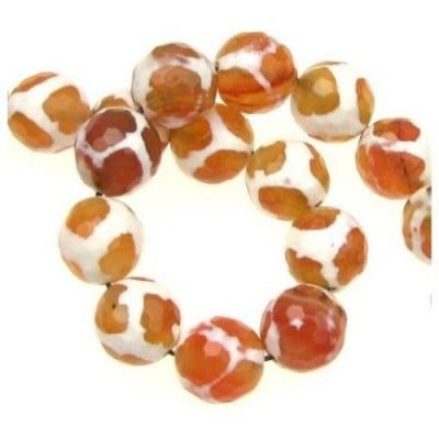 Наниз мъниста полускъпоценен камък АХАТ оранжев топче фасетирано 12 мм ~32 броя