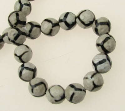 Наниз мъниста полускъпоценен камък АХАТ бяло-черен топче фасетирано 10 мм ~37 броя