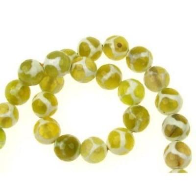 Наниз мъниста полускъпоценен камък АХАТ жълт топче фасетирано 10 мм ~38 броя