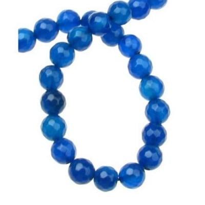 Наниз мъниста полускъпоценен камък АХАТ син топче фасетирано 6 мм ~63 броя
