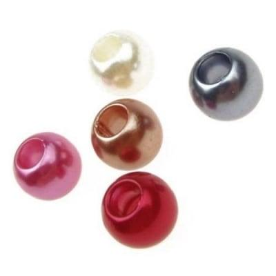Мънисто АРТ пластмасово 10x12 мм дупка 5 мм топче цветно -5 броя